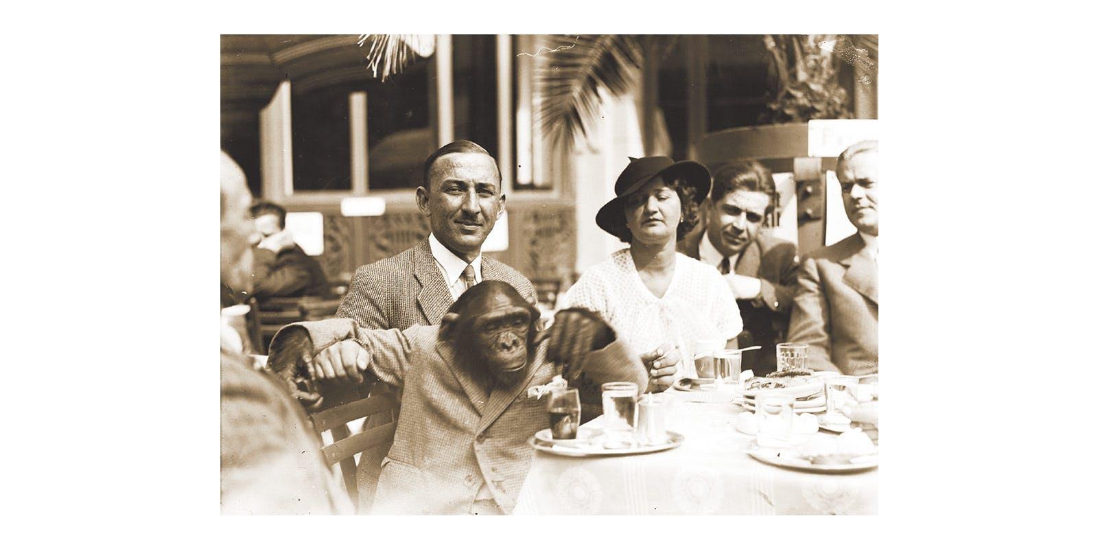 Lala Staniewski and Mimi the Chimpanzee entertaining