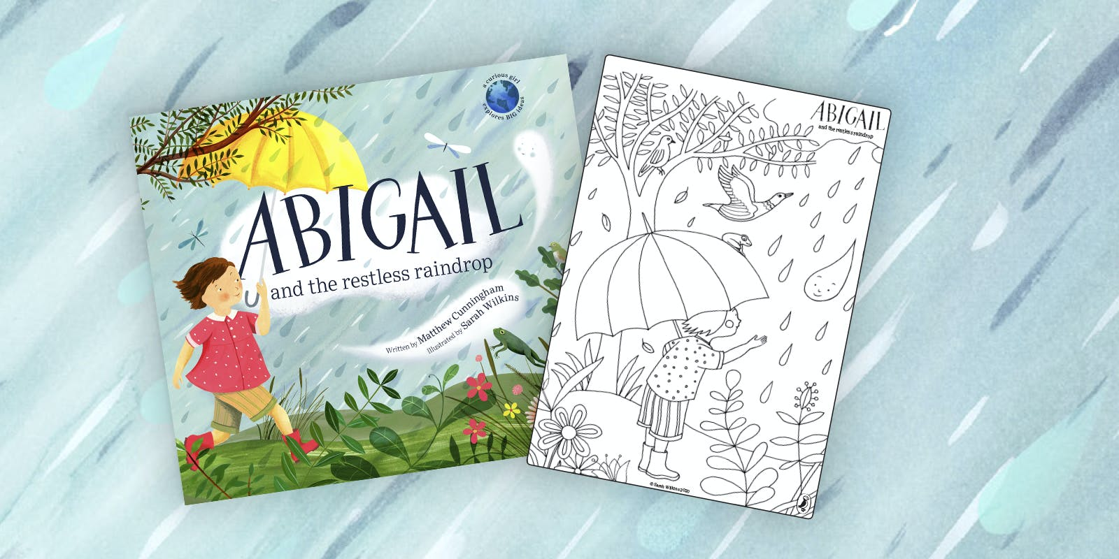 Abigail and the Restless Raindrop colouring page