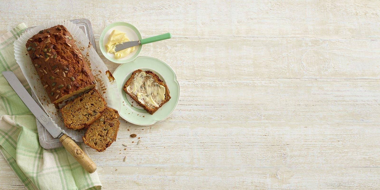 Banana, carrot and seed bread