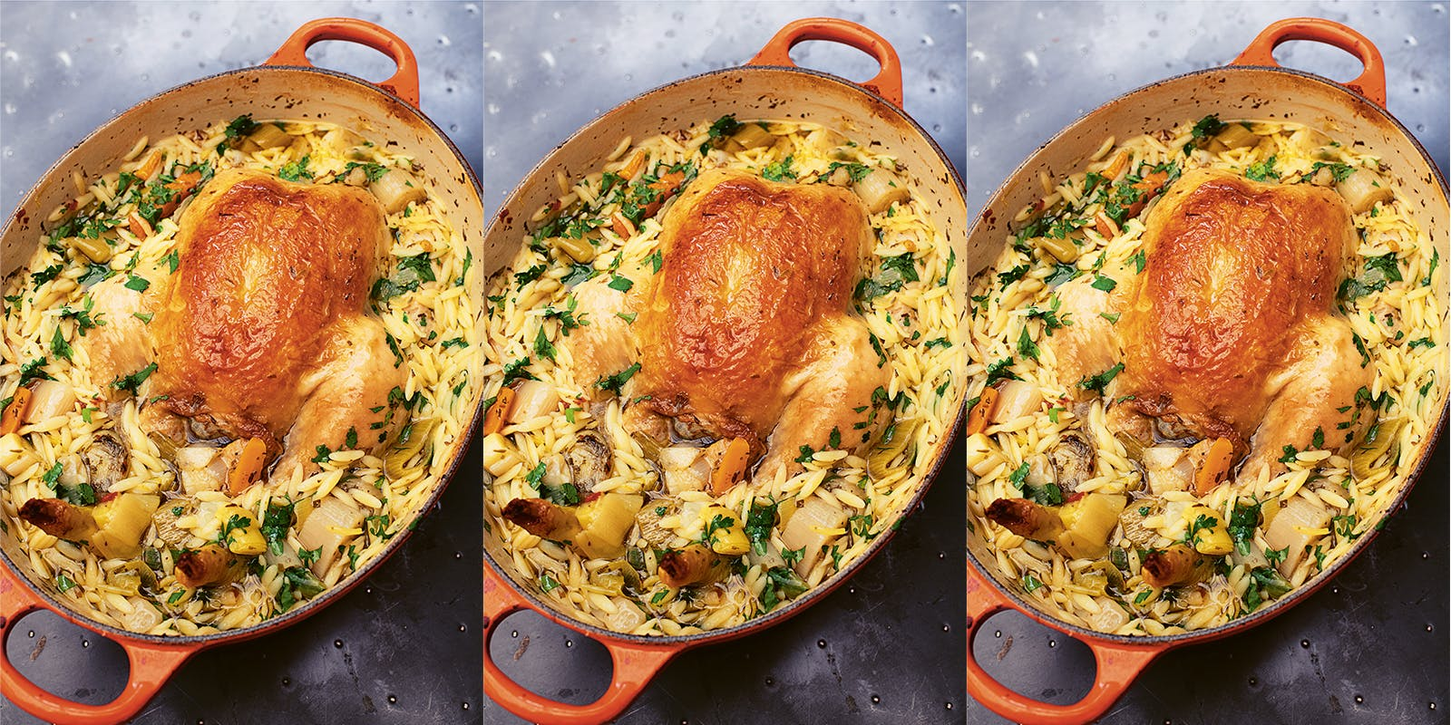 Chicken in a pot with lemon and orzo