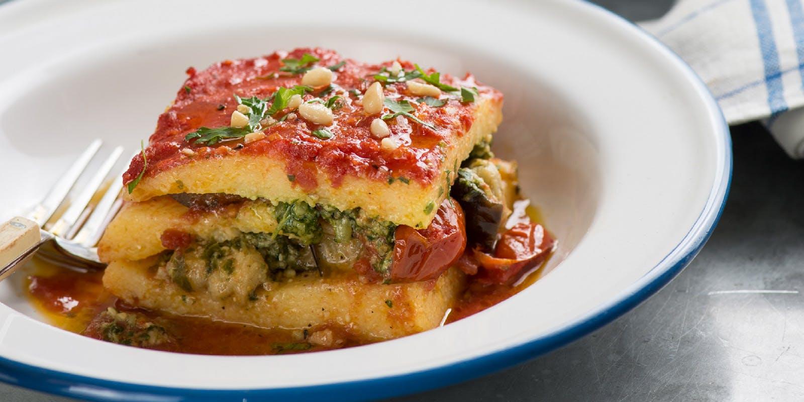 Eggplant and roasted tomato polenta lasagne