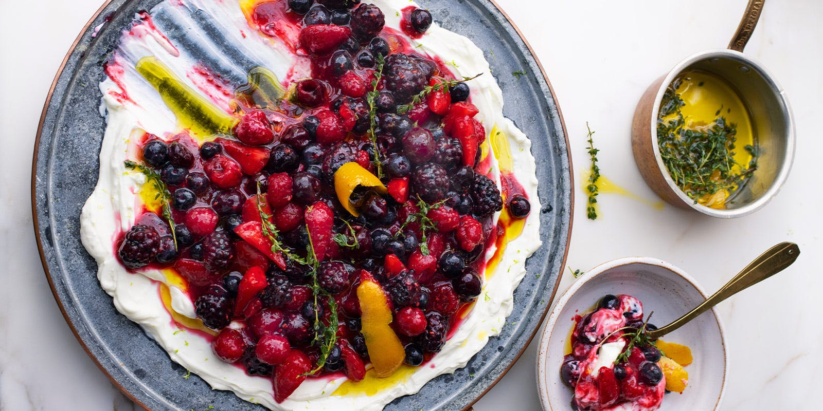 Berry platter with sheep's labneh and orange oil