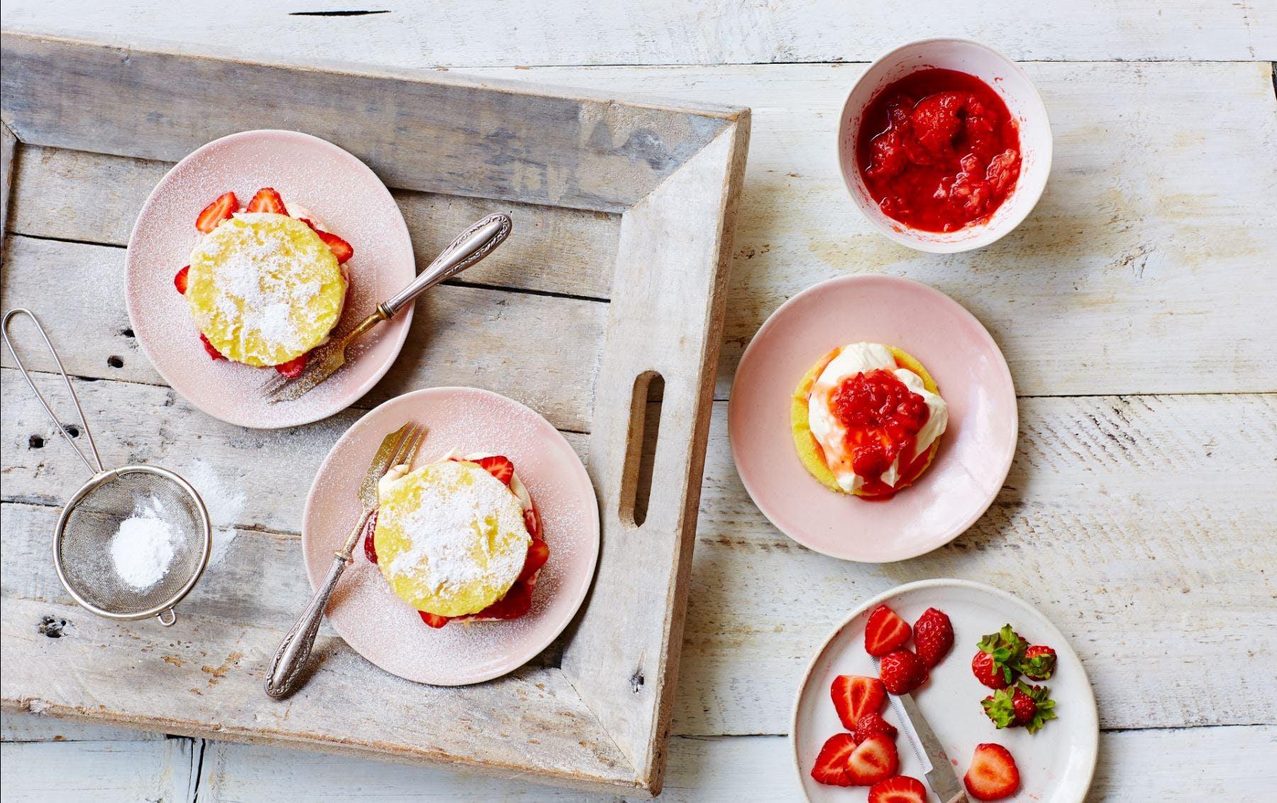 Strawberry polenta shortcakes