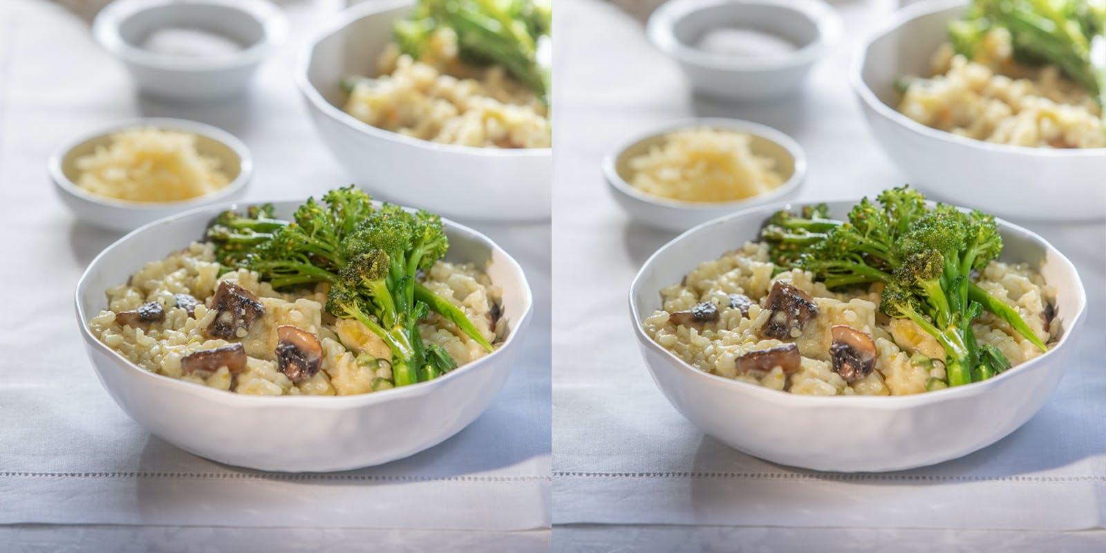 Ganesh's Leek, Mushroom & Asparagus Risotto with Broccolini