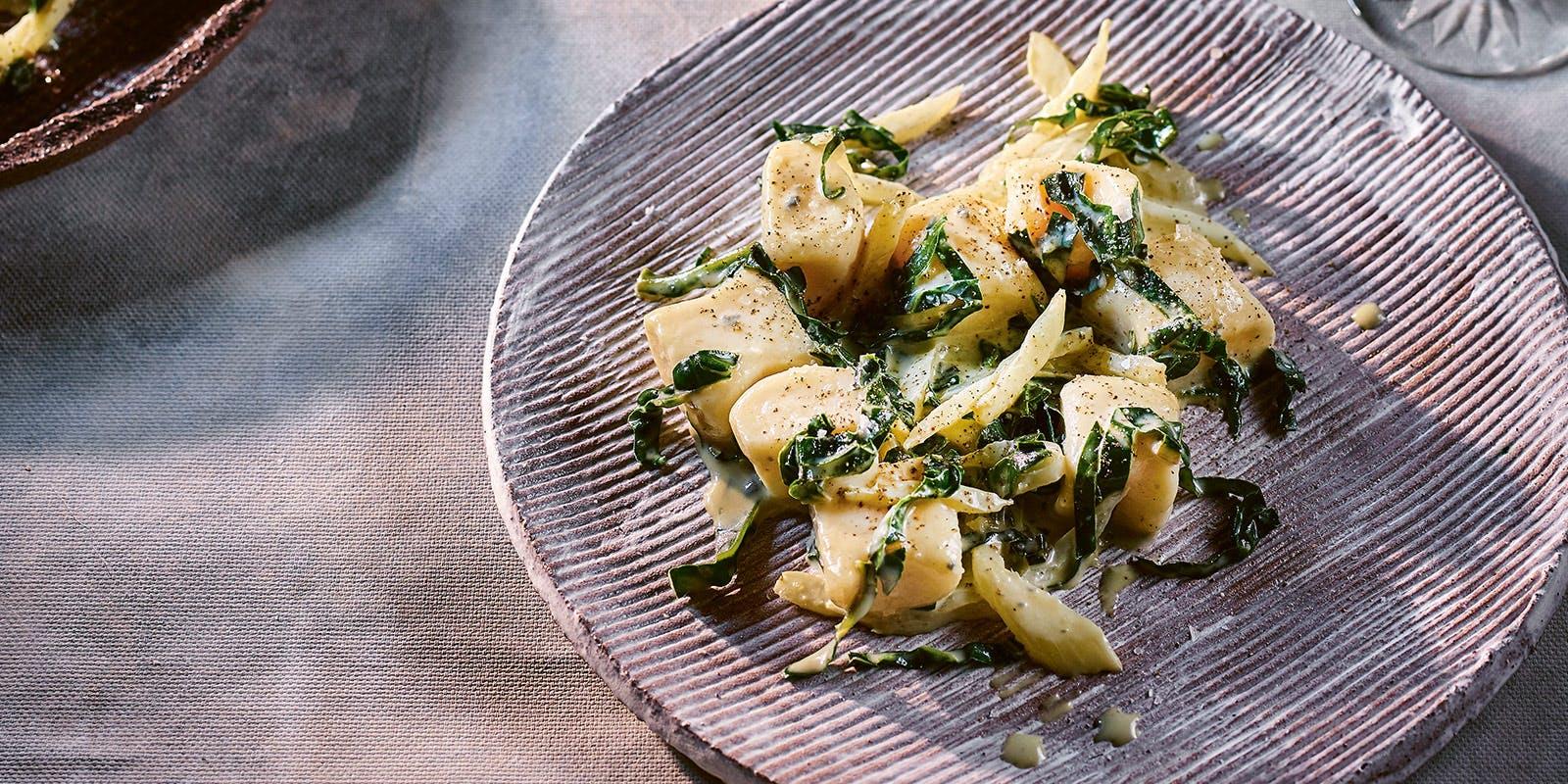 Gnocchi, gorgonzola, silverbeet