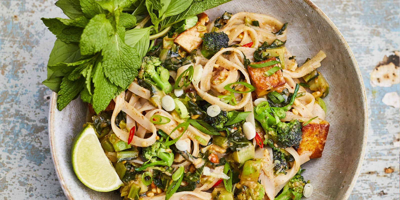 Peanut butter and purple sprouting broccoli pad thai