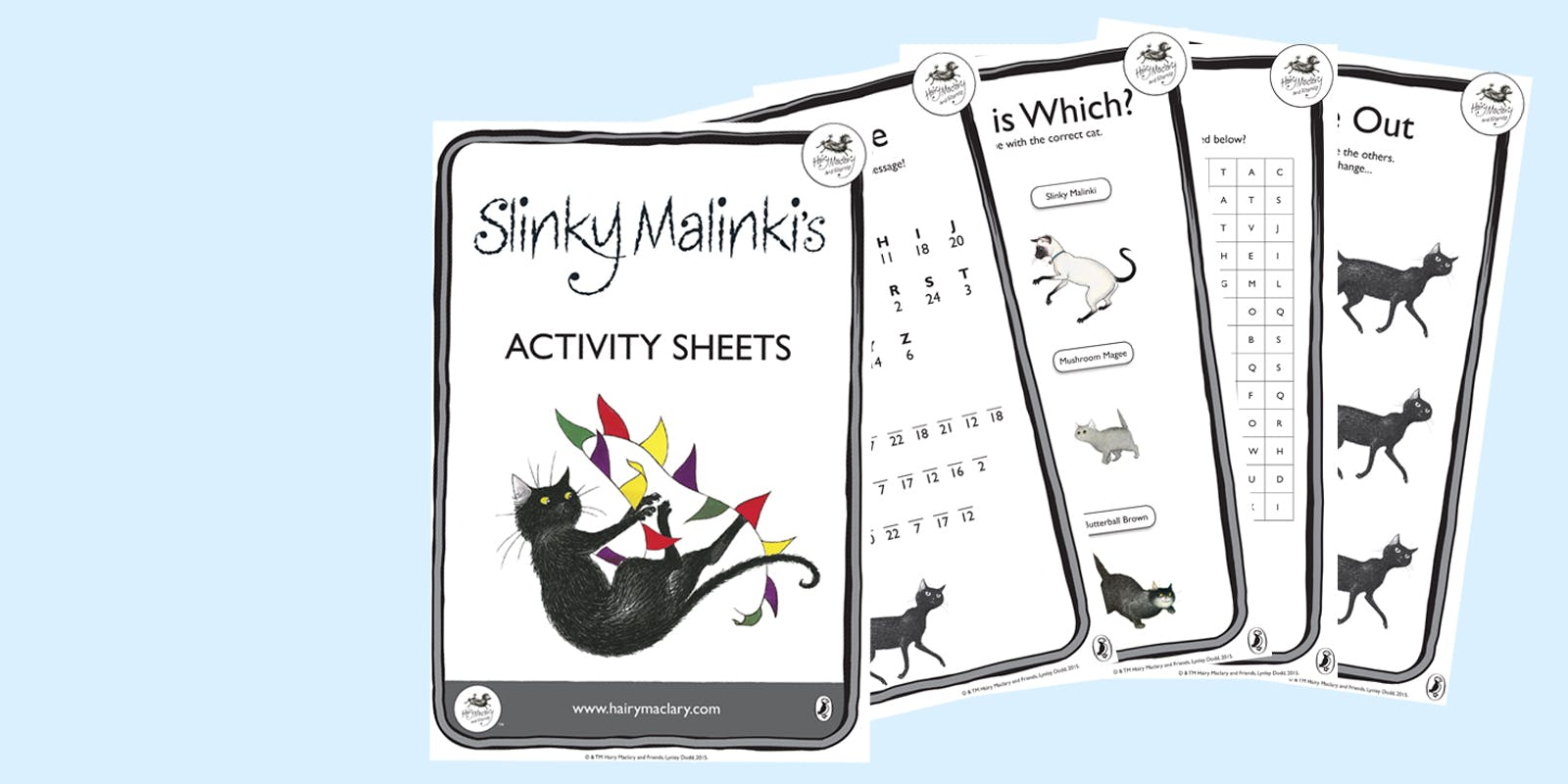 Slinky Malinki's activity sheets