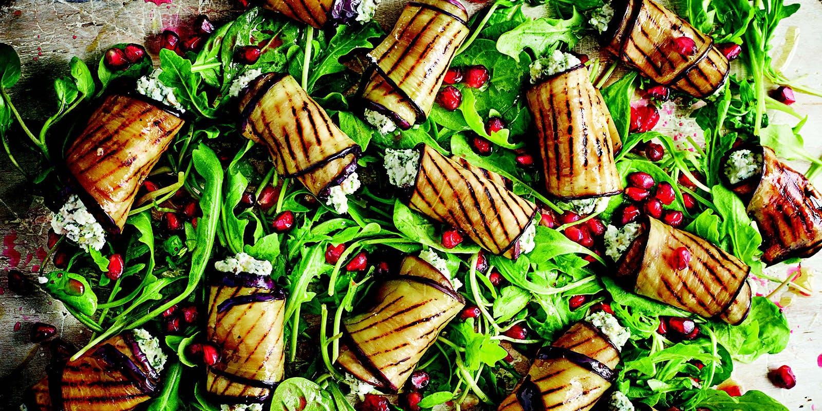 Char-grilled aubergine and feta rolls