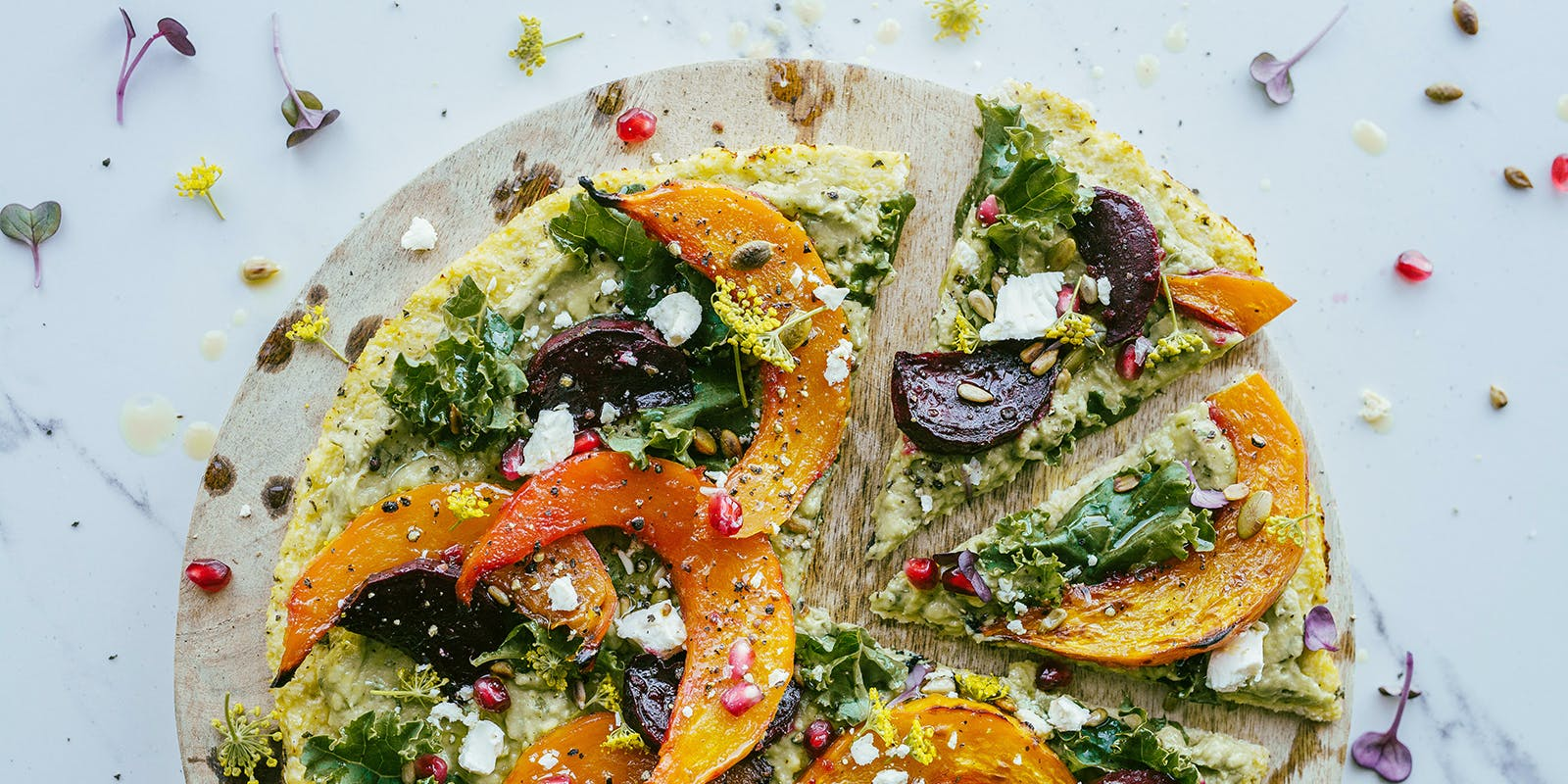 Cauliflower galette with avocado cream and roasted vegetables