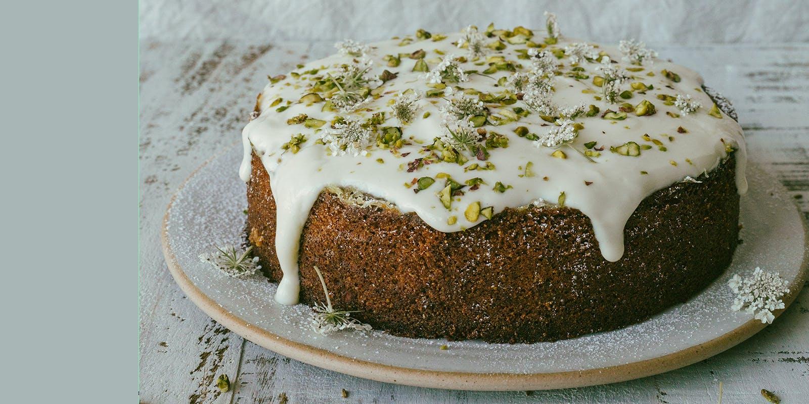 Pistachio, elderflower and lime cake