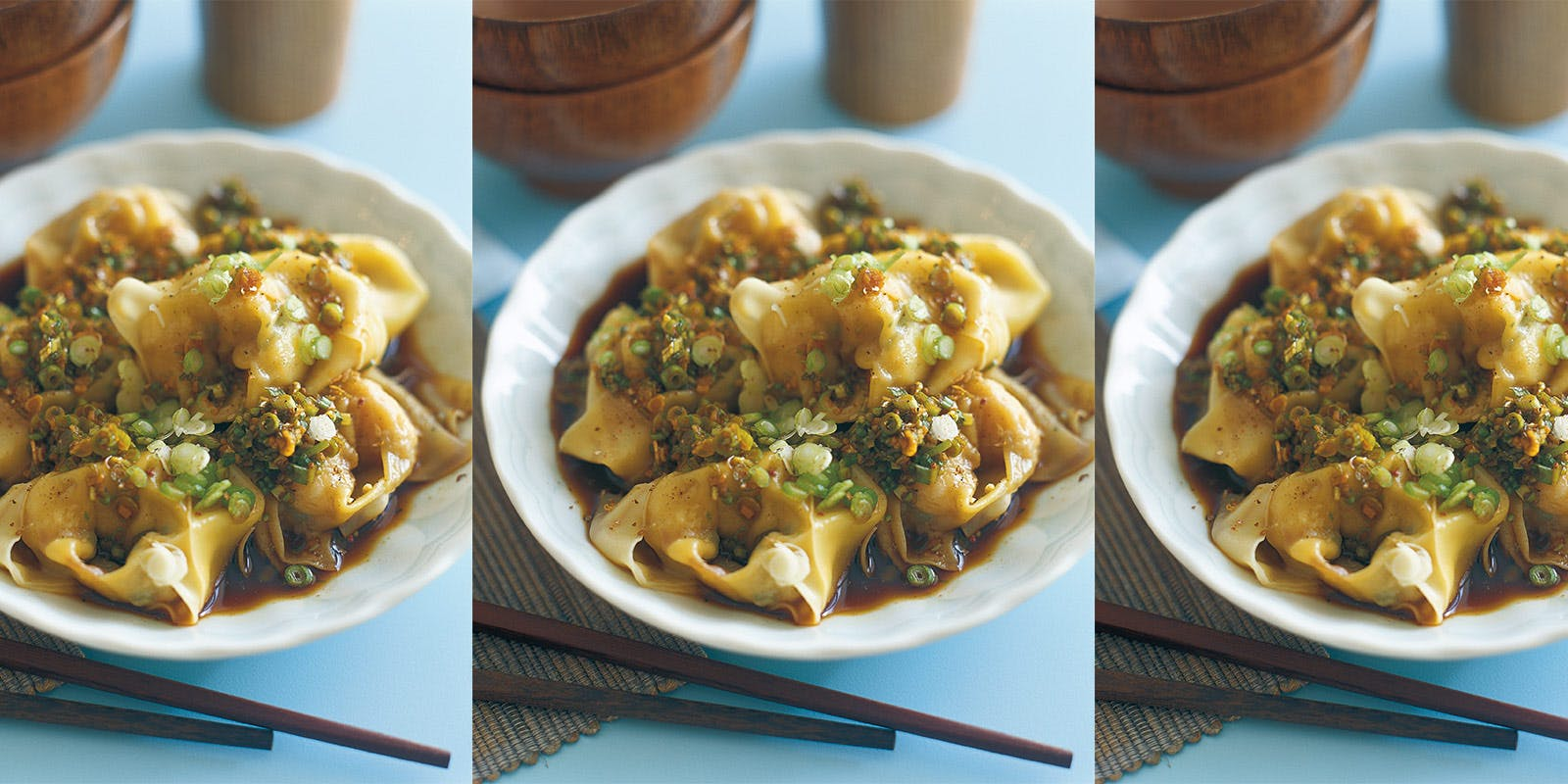 Prawn wontons with spring onion, ginger and vinegar dressing