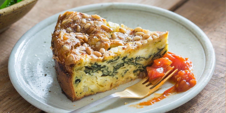 Self-crusting spinach & feta quiche