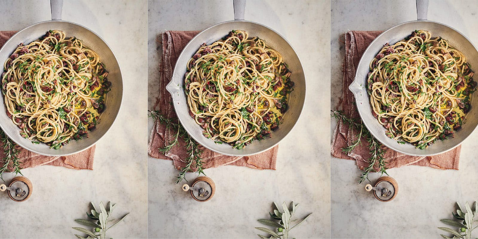 Spaghetti with anchovies and olives