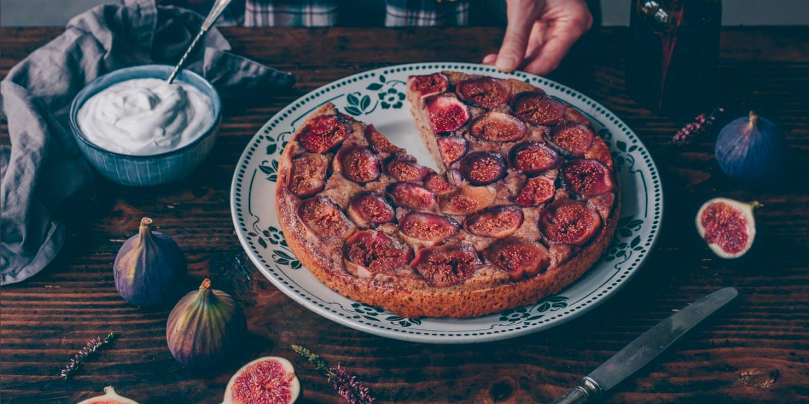 Fig & hazelnut upside-down cake
